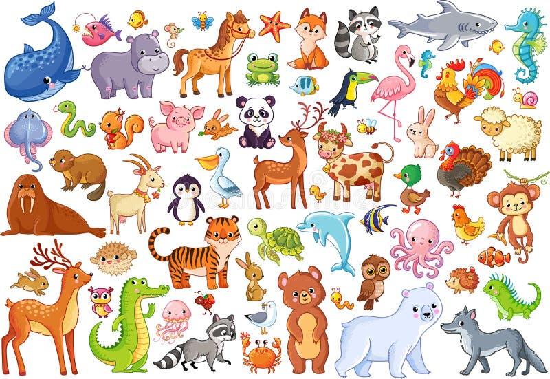 Wektorowy ustawiający zwierzęta Domowi faworyci ssaki royalty ilustracja