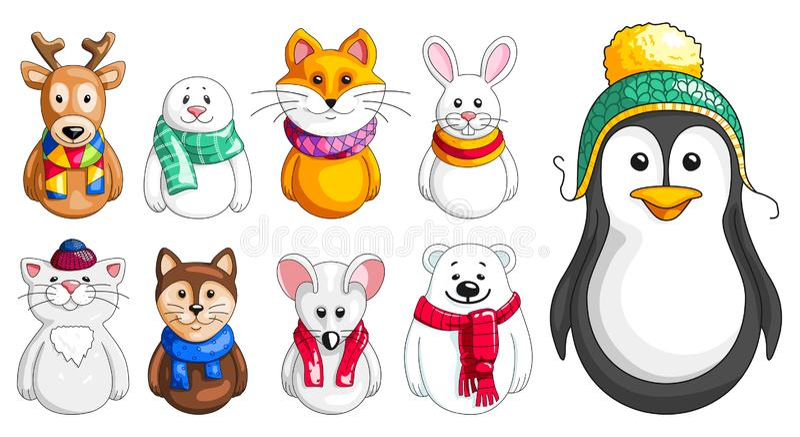 Wektorowy ustawiający zwierzęta w zimie odziewa ilustracji