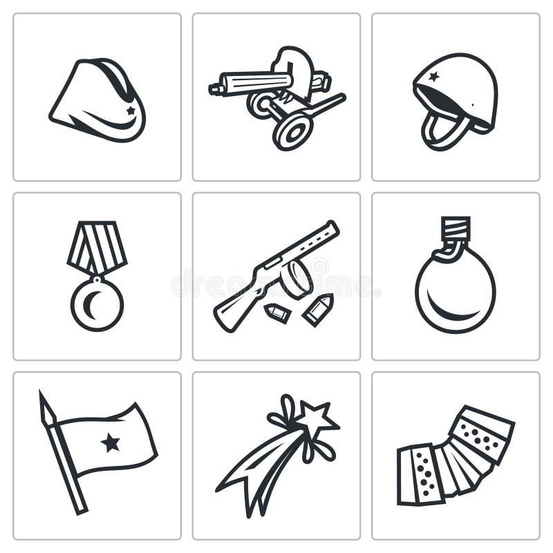 Wektorowy Ustawiający zwycięstwo dzień w Rosja ikonach Garnizonowa nakrętka, Maszynowy pistolet, hełm, rozkaz, Submachine, kolba, ilustracji