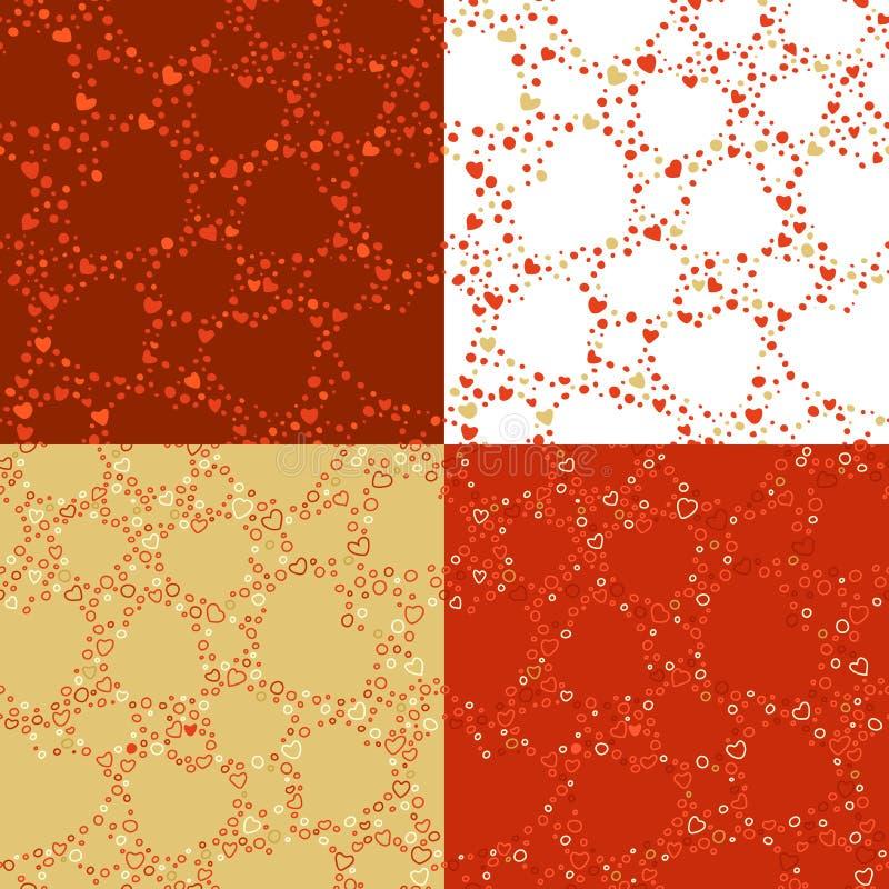 Download Wektorowy Ustawiający Bezszwowi Walentynka Wzory Ilustracja Wektor - Ilustracja złożonej z pasja, powtórka: 65225393