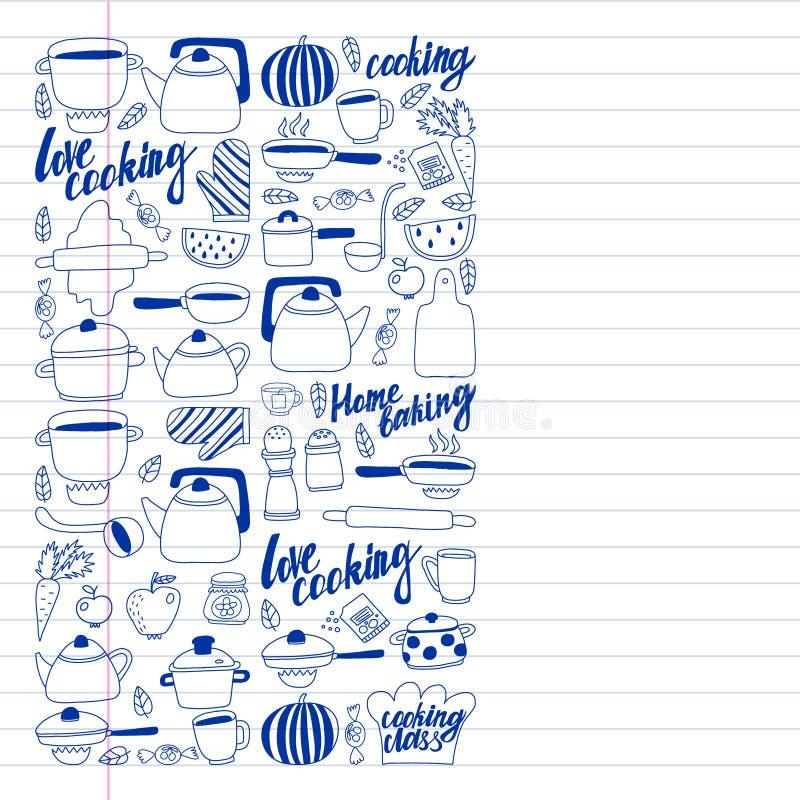 Wektorowy ustawiaj?cy dzieci ?s kuchnia i kulinarne rysunek ikony w doodle projektuje Maluj?cy, rysuj?cy z pi?rem na prze?cieradl royalty ilustracja