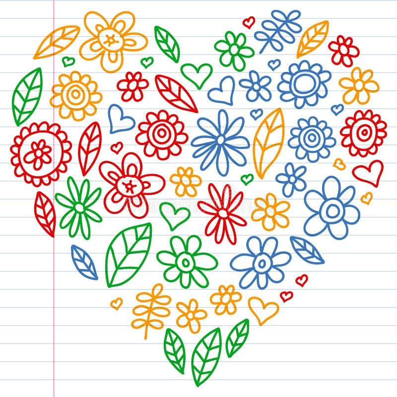 Wektorowy ustawiaj?cy dziecko rysunek kwitnie ikony w doodle stylu Maluj?cy, kolorowy, obrazki na kawa?ku liniowy papier na bielu obraz stock