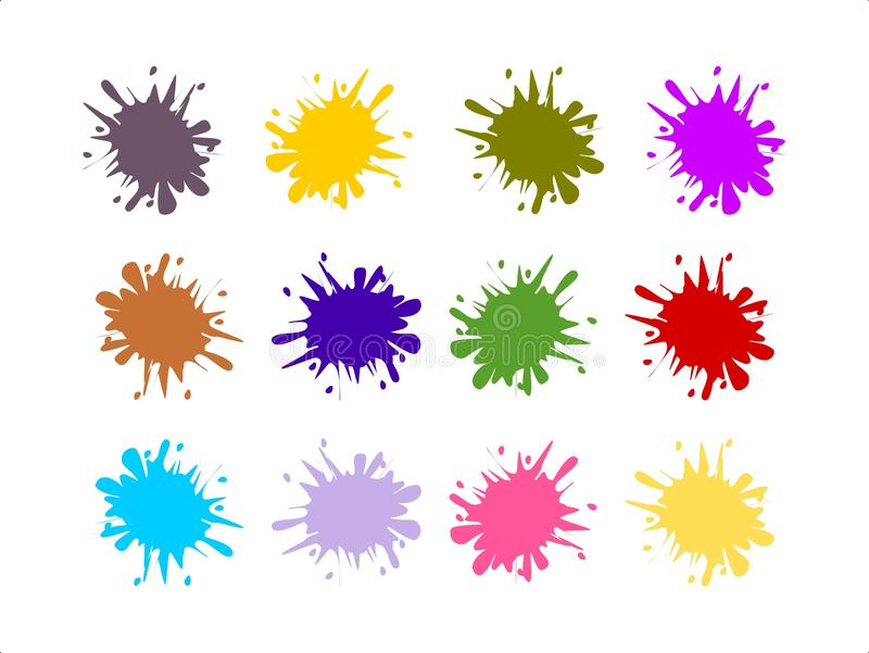 Wektorowy ustawiaj?cy kolorowi farb plu?ni?cia obrazy royalty free