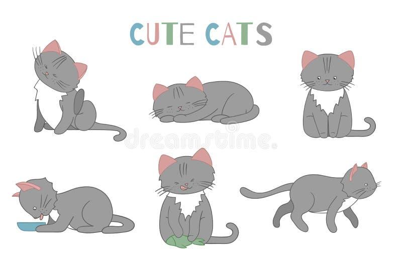 Wektorowy ustawiaj?cy ?liczny kresk?wka stylu kot w r??nych pozach ilustracji