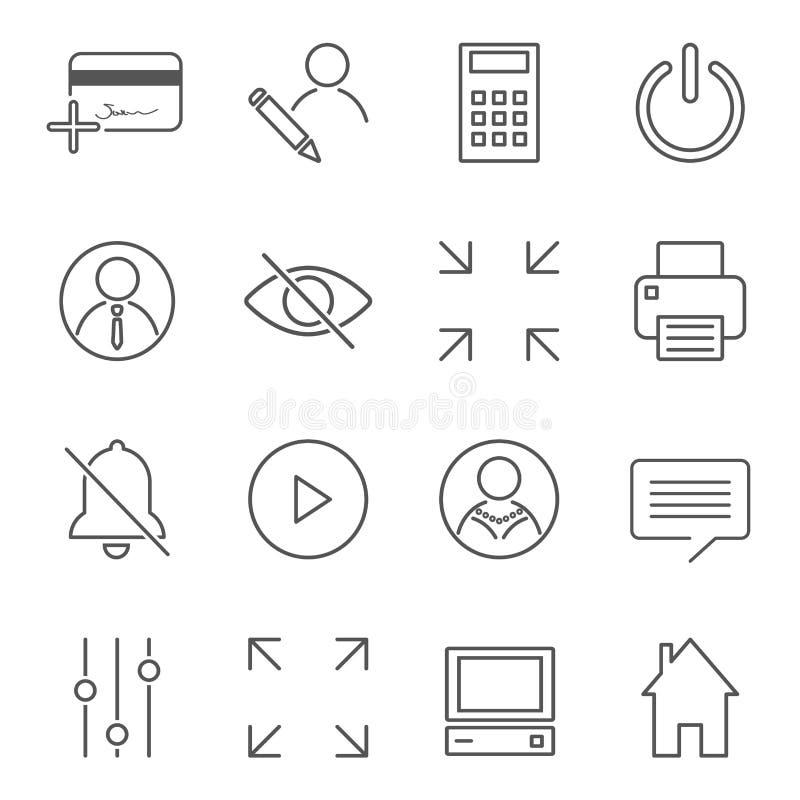 Wektorowy ustawiaj?cy 16 liniowych ilo?ci ikon odnosi? sie zarz?dzanie przedsi?biorstwem i procesy Podstawowi mono kreskowi pikto ilustracji