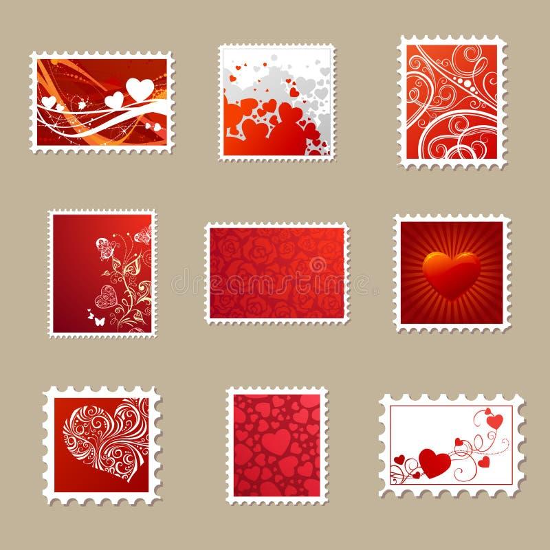 Download Wektorowy Ustawiający Walentynka Znaczki Pocztowi Ilustracja Wektor - Ilustracja złożonej z odchodowy, kwiecisty: 65225252