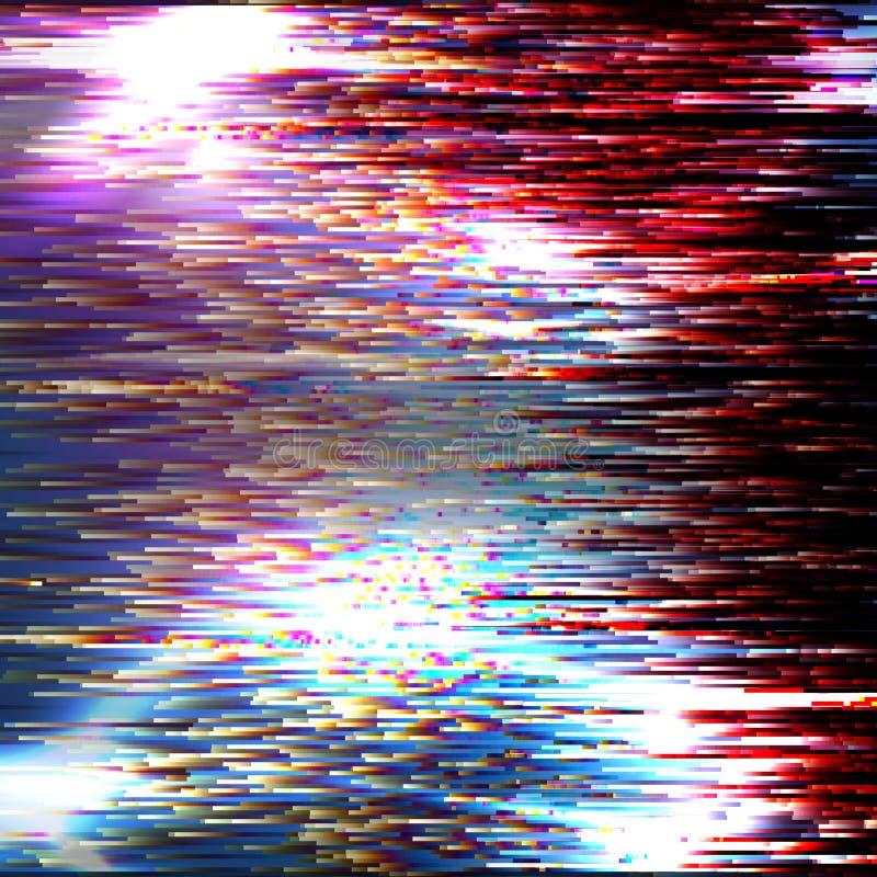 Wektorowy usterki tło Nowożytny obrazów cyfrowych dane wykoślawienie Korumpująca kartoteka Kolorowy Abstrakcjonistyczny tło Dla T ilustracja wektor