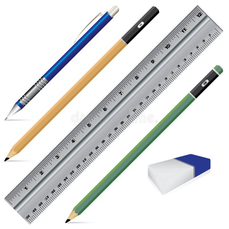 Wektorowy węgla ołówek Ołówkowej gumki pióro na białym tle i władca Przedmiota narzędzie dla biurowego materiały i szkoły ilustracji