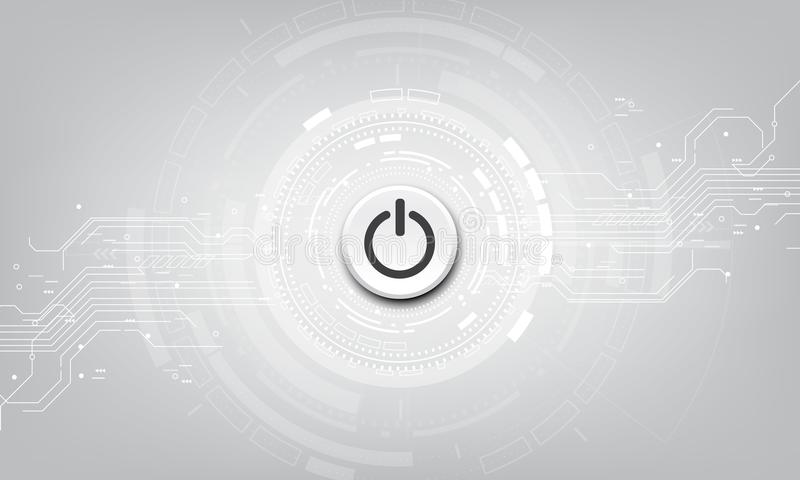 Wektorowy władza guzik na technologii tle ilustracja wektor