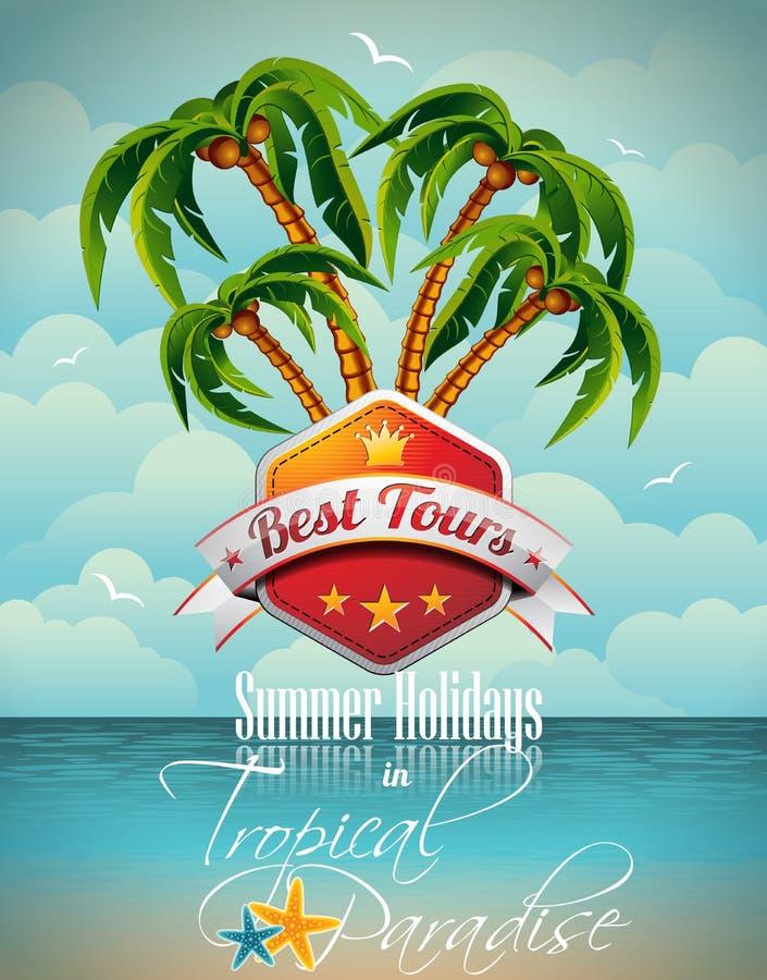 Wektorowy wakacje letni ulotki projekt z drzewkami palmowymi. royalty ilustracja
