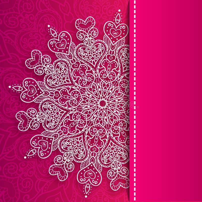 Wektorowy walentynka dnia koronkowy powitanie ozdobny royalty ilustracja