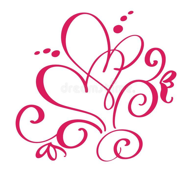 Wektorowy walentynka dzień zawijas kaligrafii rocznika serca Ręka rysujący szkicowy kaligrafii valentine ślub i miłość ilustracji