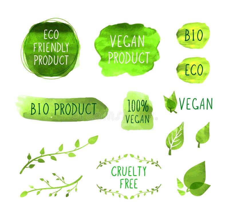 Wektorowy weganin MenuPackaging Przylepia etykietkę ikony kolekcję, tło oceny ilustracja wektor
