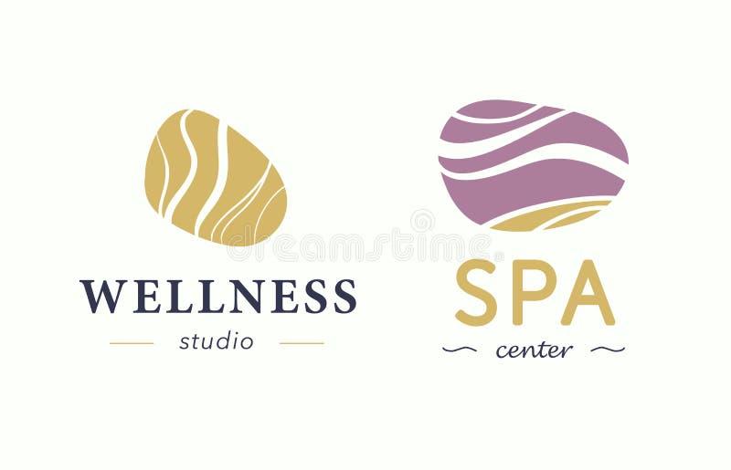 Wektorowy wellness i zdroju centrum logo z abstraktem stylizowaliśmy kamień odizolowywającego na białym tle ilustracja wektor