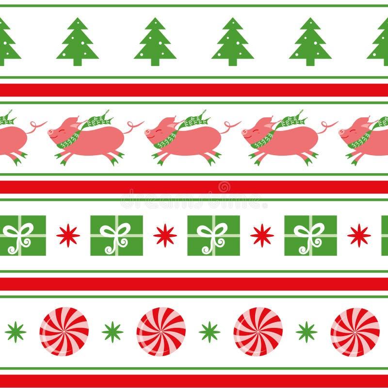 Wektorowy Wesoło bożych narodzeń bezszwowy wzór z świniowatym drzewem, płatki śniegu, cukierek, prezent, shevron na bielu ilustracja wektor