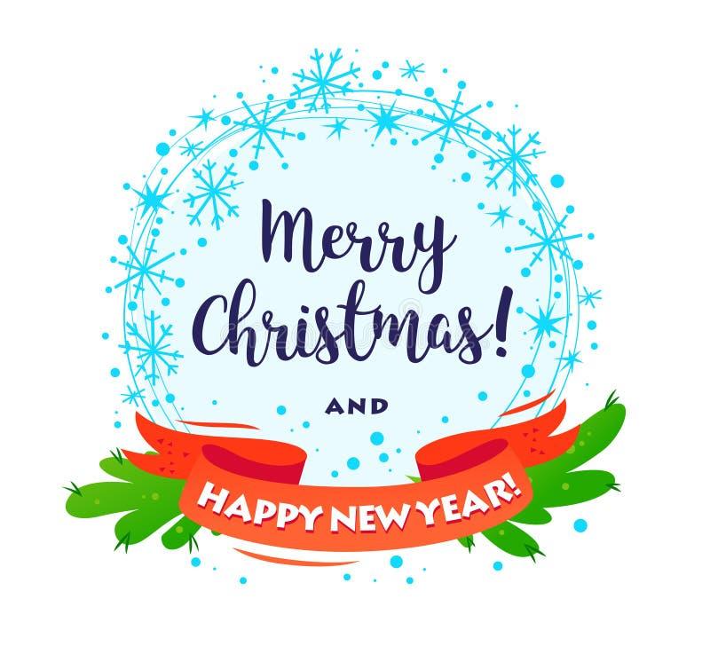 Wektorowy Wesoło bożych narodzeń Szczęśliwy nowy rok dekorował wianek z gratulacje odizolowywającą na białym tle ilustracji