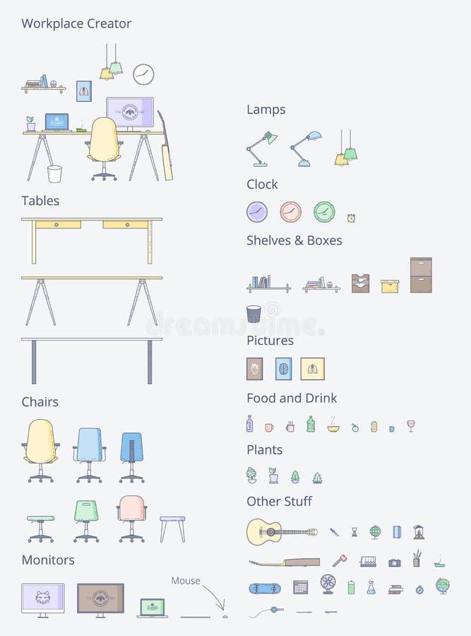Wektorowy Wewnętrzny Workspace generator ilustracji
