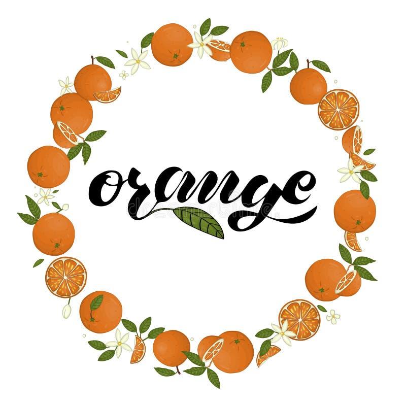 Wektorowy wianek pomarańcze z literowaniem ilustracja wektor