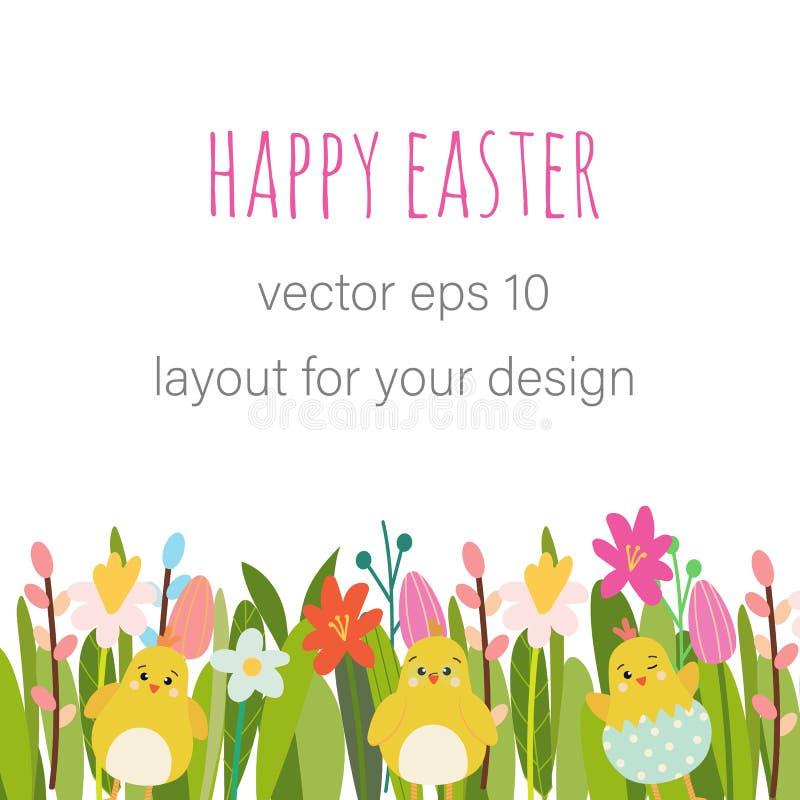 Wektorowy Wielkanocny kwiecisty tło ilustracja wektor