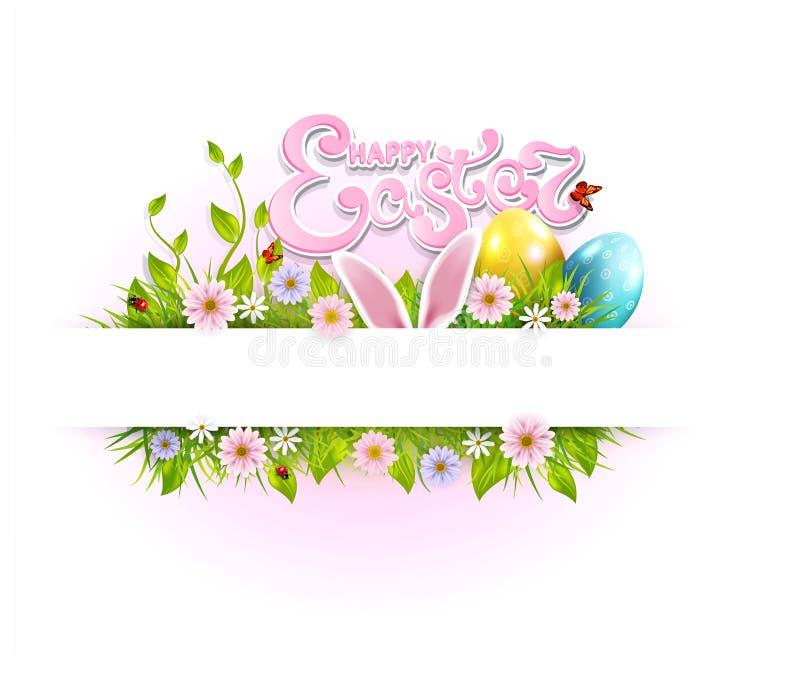 Wektorowy Wielkanocny tło z barwionymi jajkami, królików ucho, kwiaty, biedronka, motyl i tekst, Szablon dla wakacje royalty ilustracja