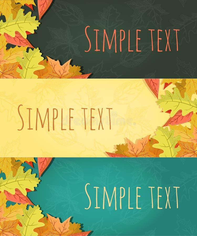 Wektorowy wielki ustawiający kolorowy, ręka rysujący stylowi jesień liście ilustracja wektor