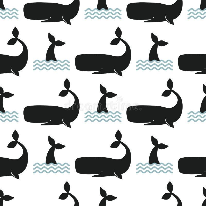 Wektorowy wielorybi ilustracyjny bezszwowy deseniowy humpback oceanu morskiego ssaka przyrody nadwodnego zwierzęcia charakter ilustracji