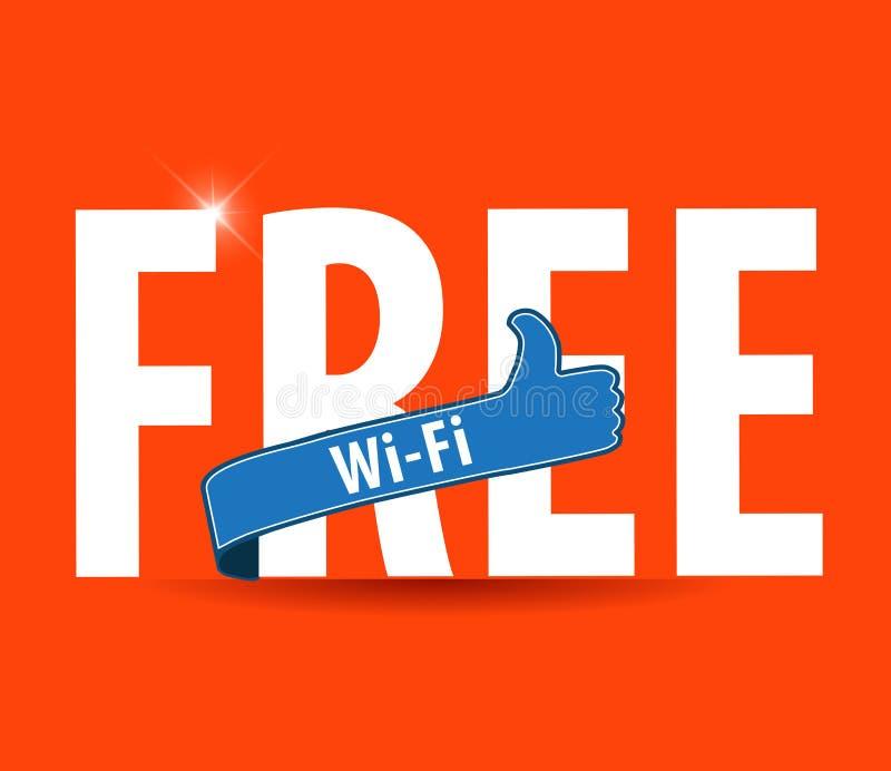 Wektorowy wifi symbol, bezpłatny wifi znak z jaskrawym tłem i aprobaty, ilustracja wektor