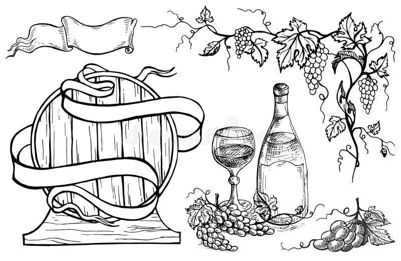 Wektorowy wino set ilustracji