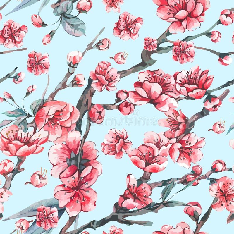 Wektorowy wiosny kartka z pozdrowieniami z różowymi kwitnienie gałąź ilustracji
