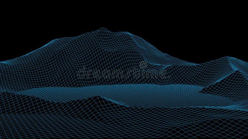 Wektorowy wireframe 3d krajobraz Siatki ilustracja ilustracji