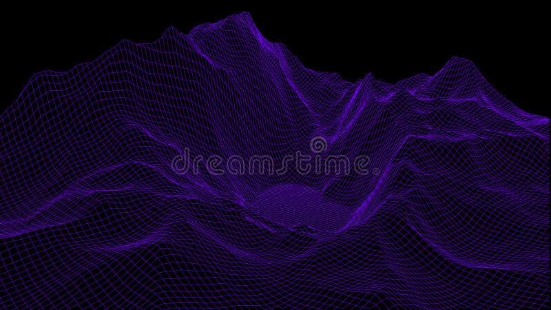 Wektorowy wireframe 3d krajobraz Siatki ilustracja ilustracja wektor
