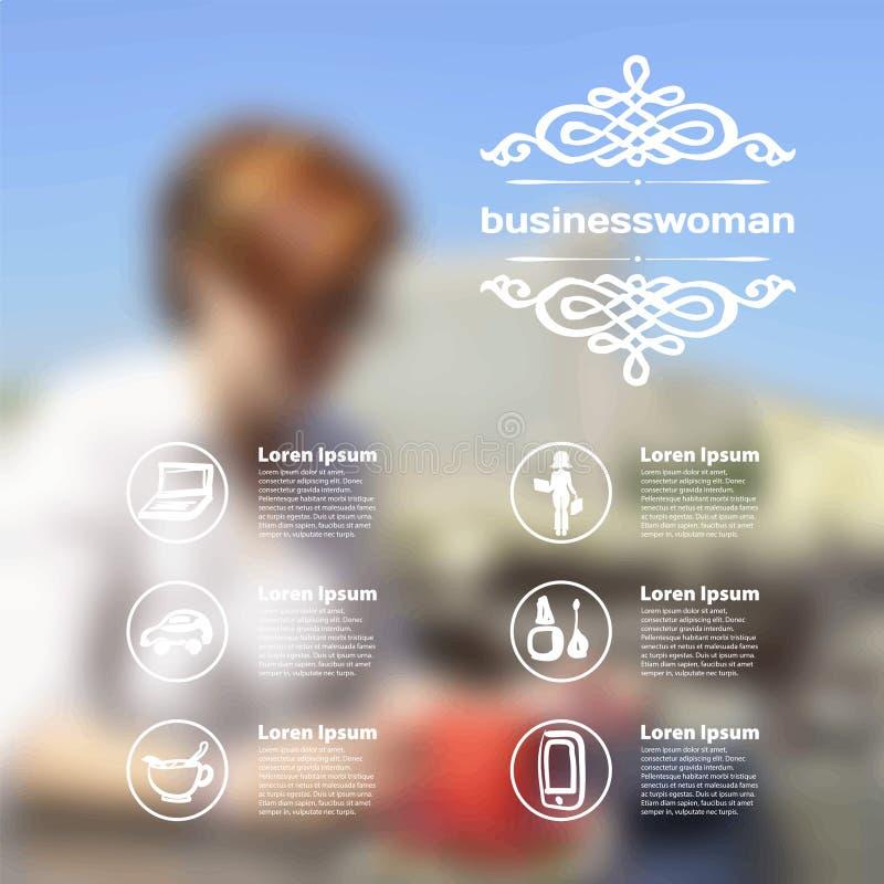 Wektorowy wiszącej ozdoby i sieci interfejs z biznesową kobietą ilustracji
