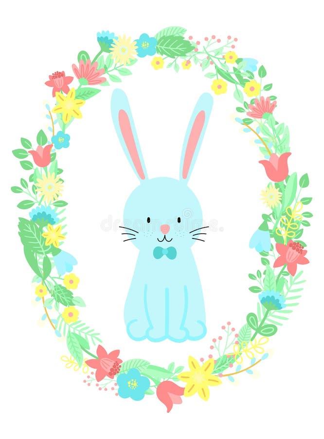 Wektorowy wizerunek śliczny błękitny królik w kwiatu wianku Pociągany ręcznie Wielkanocna ilustracja królik dla wiosna szczęśliwy ilustracja wektor