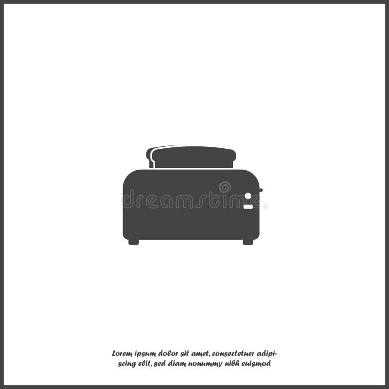 Wektorowy wizerunek chleb i opiekacz urządzeń tła ilustracyjny kuchenny biel Wektorowa biała ikona na białej ikonie na białym odo royalty ilustracja