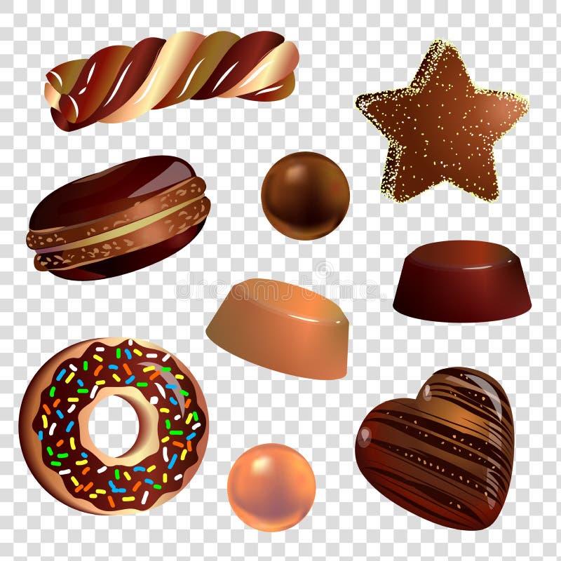 Wektorowy wizerunek cukierki robić czekolada na przejrzystym tle ilustracja wektor