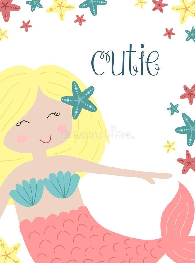 Wektorowy wizerunek cutie blondynki mała syrenka z rozgwiazdami podwodnymi Denna pociągany ręcznie ilustracja dla dziewczyny, uro ilustracji