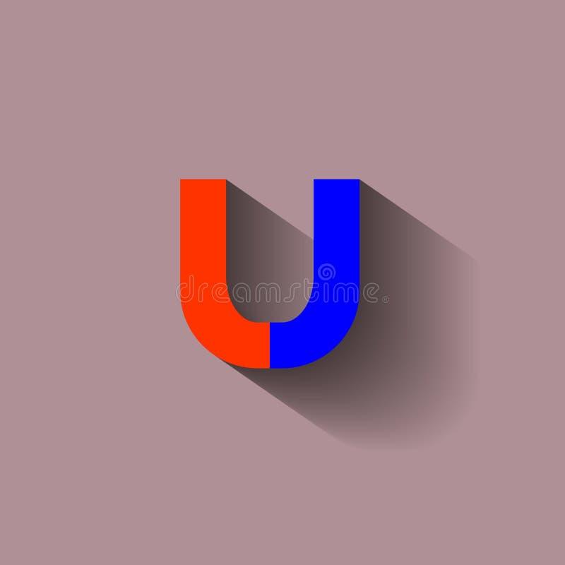 Wektorowy wizerunek czerwony i błękitny podkowa magnes ilustracja wektor