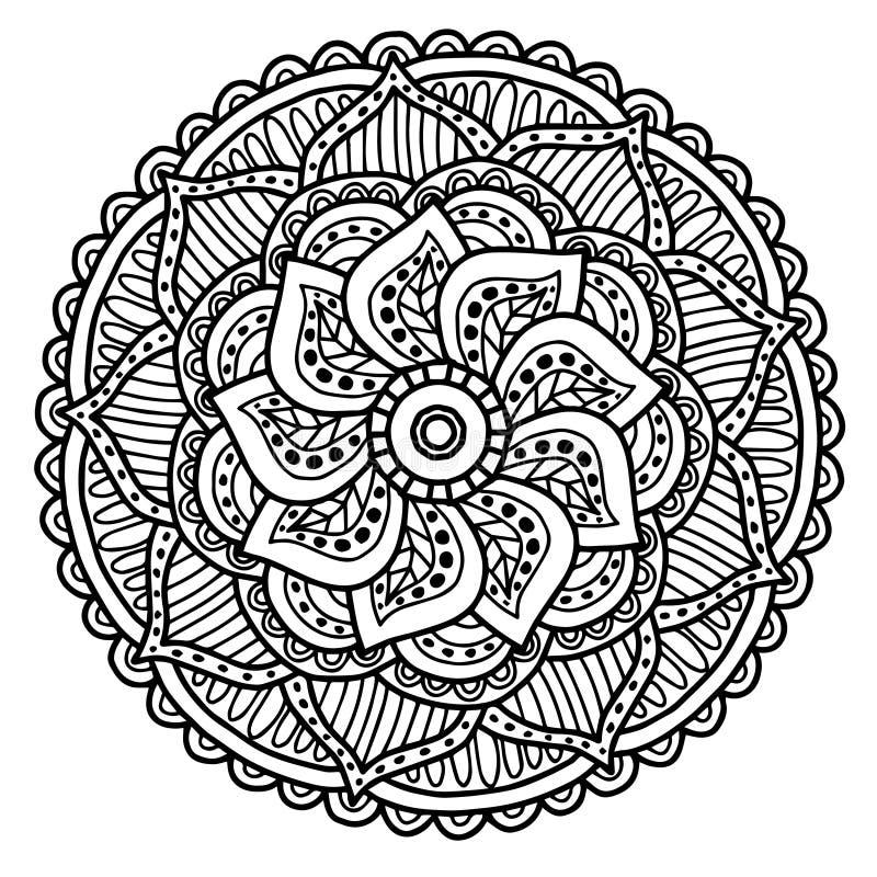 Wektorowy wizerunek dla dorosłej kolorystyki książki mandala Doodle ilustraci ilustracji