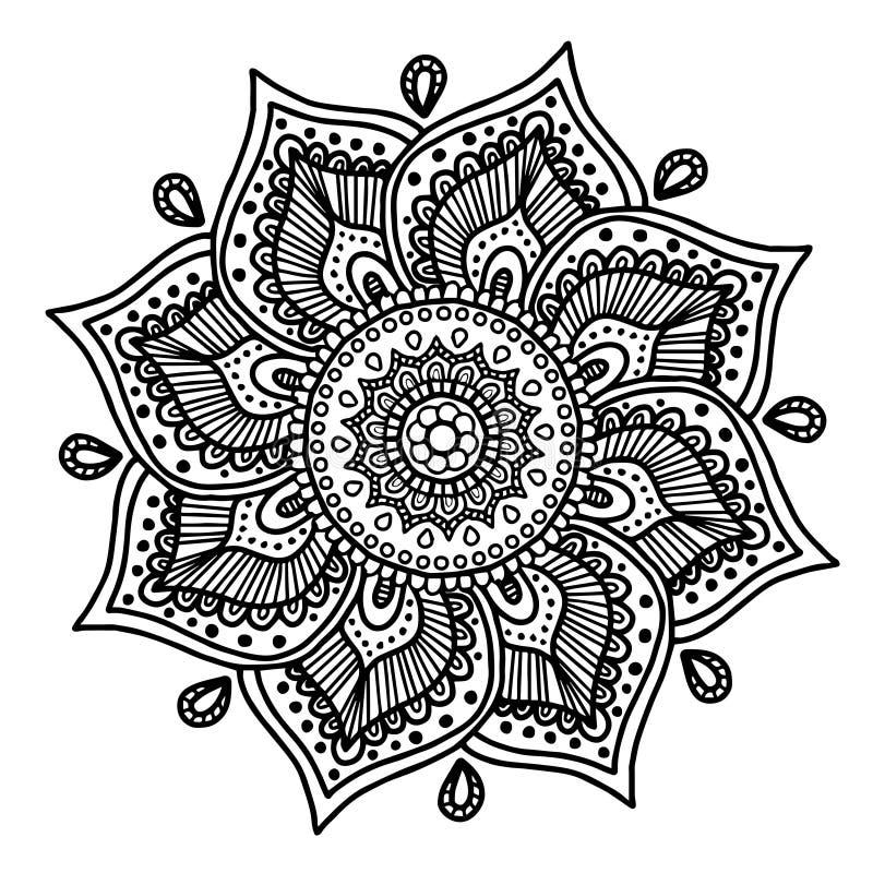Wektorowy wizerunek dla dorosłej kolorystyki książki mandala Doodle ilustraci royalty ilustracja