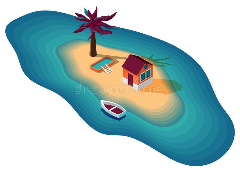 Wektorowy wizerunek dom na wyspie w morzu z łodzią, drzewkiem palmowym i basenem, royalty ilustracja