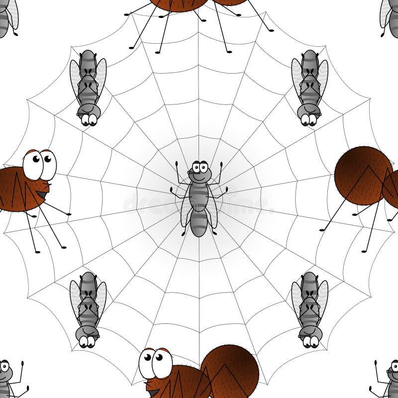 Wektorowy wizerunek dziecko ilustracja rysunek pająk i komarnica w sieci wzór ilustracji
