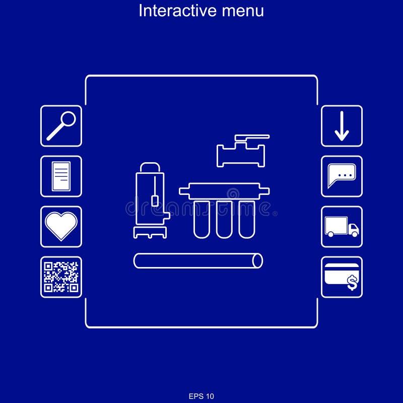 Wektorowy wizerunek interaktywny menu dla nabywać dostawy wody i czyścić systemy w multifunction menu z zdolnością t royalty ilustracja