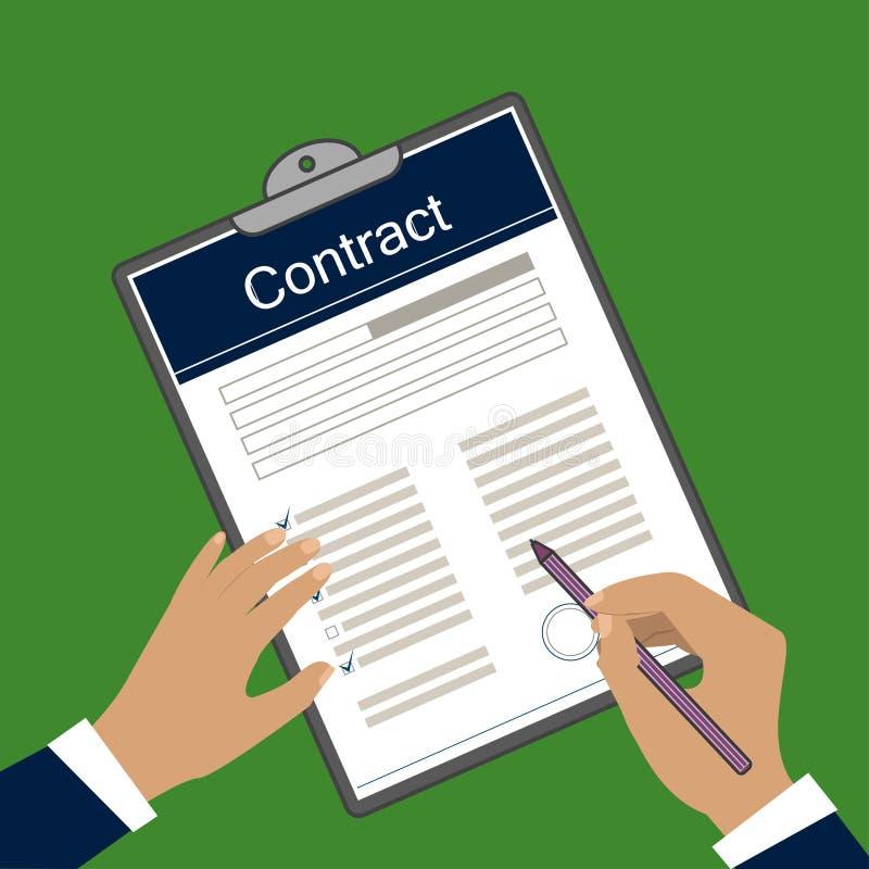 Wektorowy wizerunek kontrakt forma royalty ilustracja