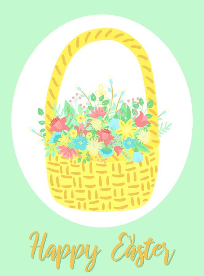 Wektorowy wizerunek kosz kwiaty i liście w ramie na zielonym tle Pociągany ręcznie Wielkanocna ilustracja dla wiosny hap ilustracja wektor