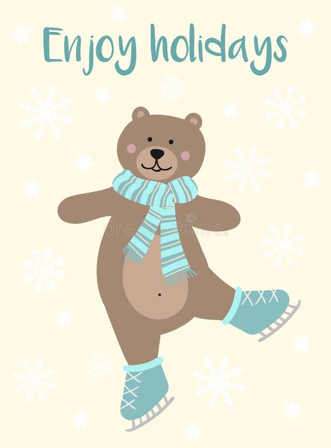 Wektorowy wizerunek kreskówka niedźwiedź na łyżwach w szaliku Zim boże narodzenia i Pociągany ręcznie kartka z pozdrowieniami prz royalty ilustracja