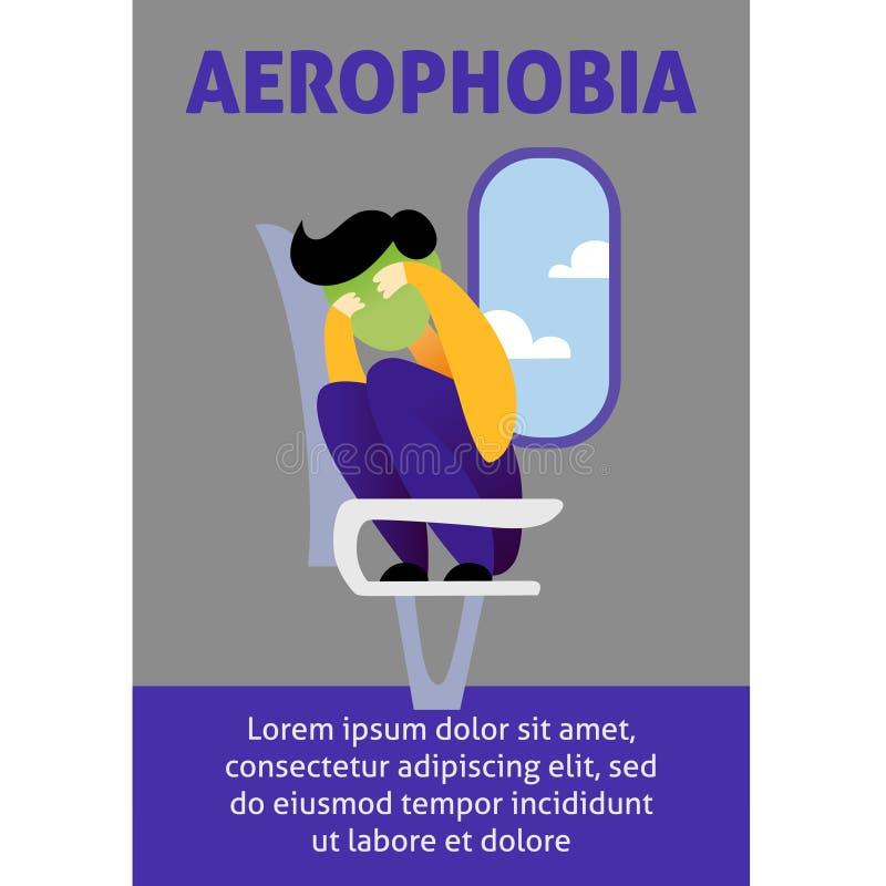 Wektorowy wizerunek mężczyzna w samolocie ma aerophobia Pasażer jest nerwowy i w stresie Koloru wizerunek dla mostownicy royalty ilustracja