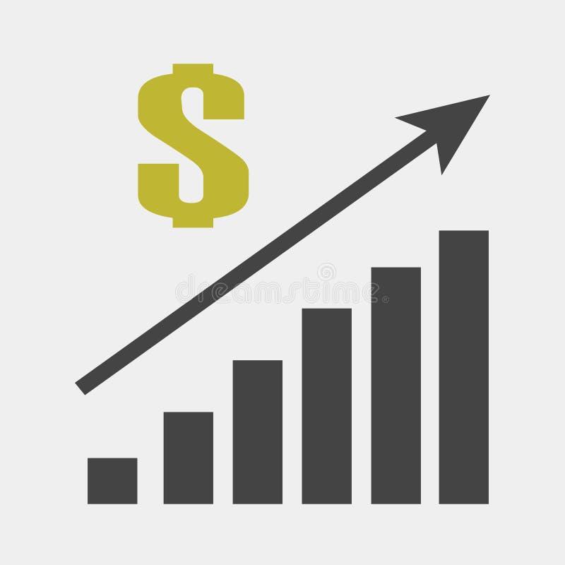 Wektorowy wizerunek mapa pieniężny przyrost Finansowa dźwiganie ikona, pieniądze wzrost Sprzedaż wzrost ilustracji