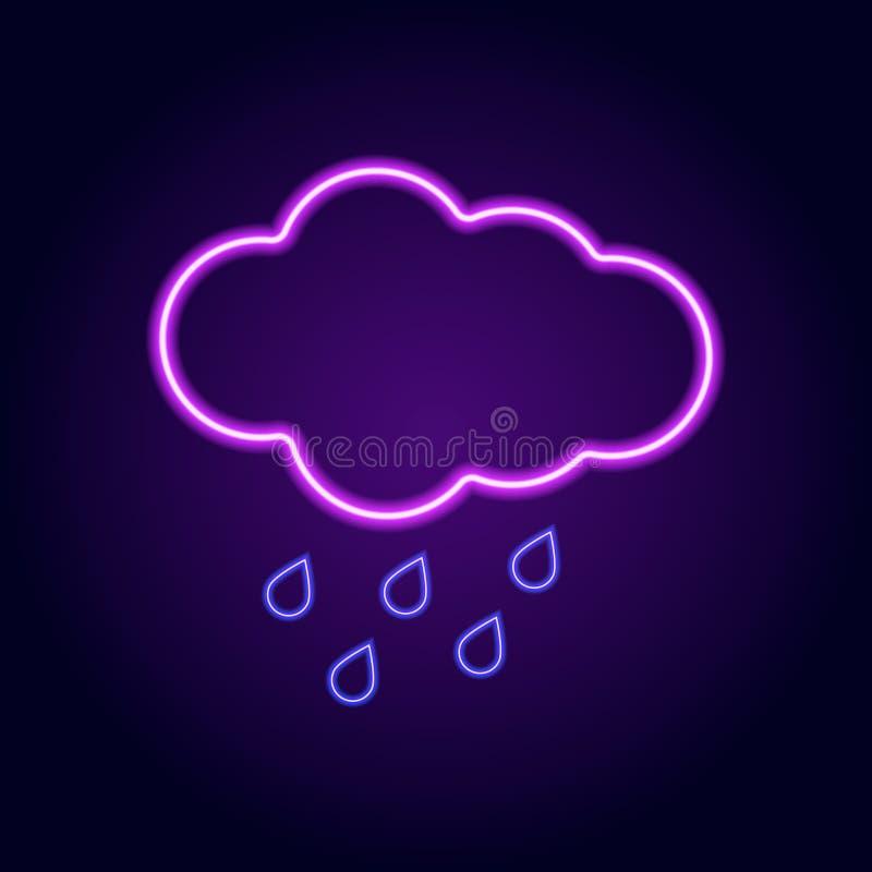Wektorowy wizerunek neonowa chmura z raindrops na kolorowym tle ilustracja wektor