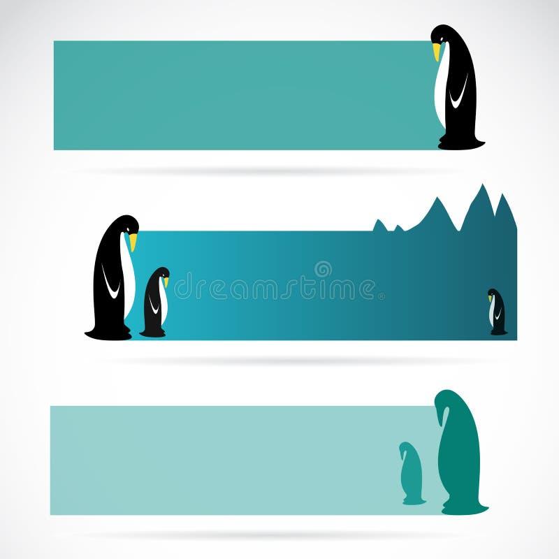 Wektorowy wizerunek pingwinu sztandary ilustracja wektor