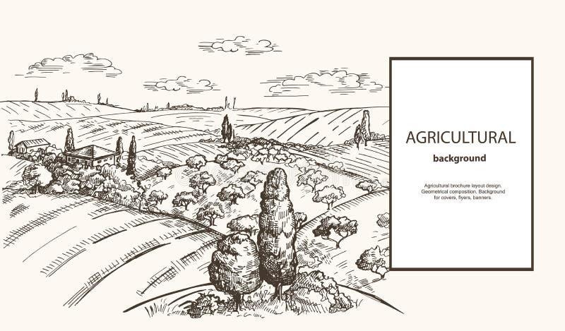Wektorowy wizerunek pole, haystacks, drzewo i dom w toskance, projektujemy Rolny t?o royalty ilustracja